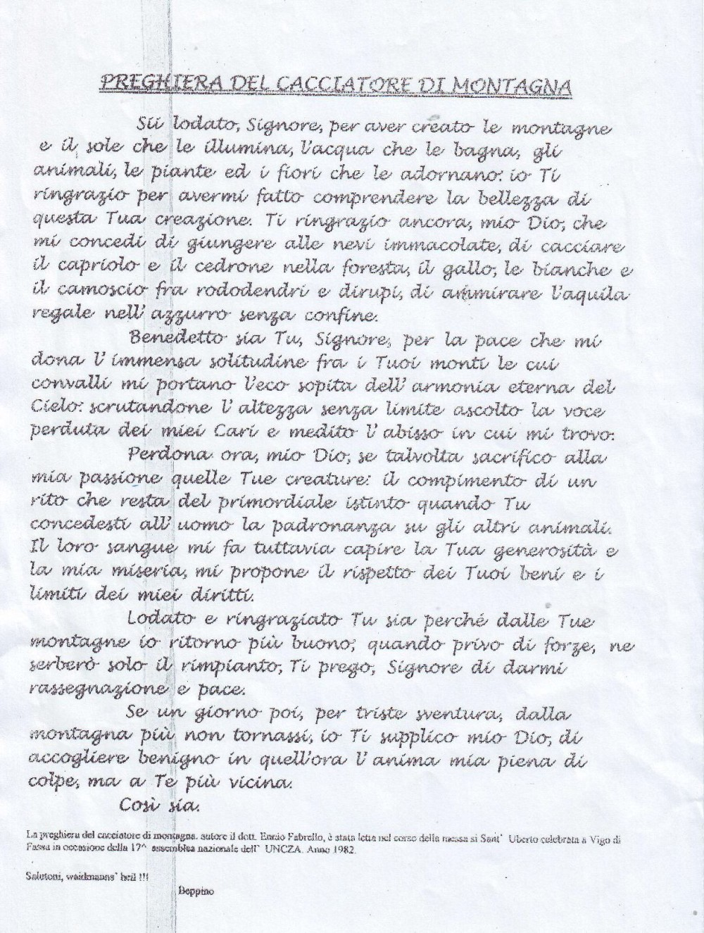 Preghiera del cacciatore, pagina 1
