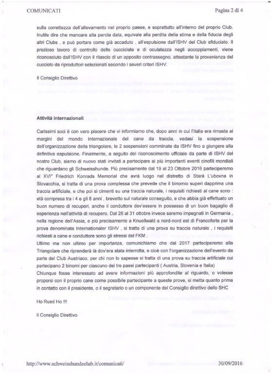 Comunicati SCHWEISSHUNDE CLUB - Pagina 2