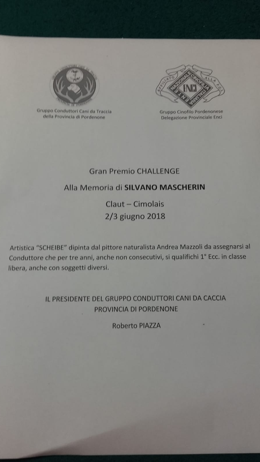 Regolamento Memoriale 'Silvano Mascherin'
